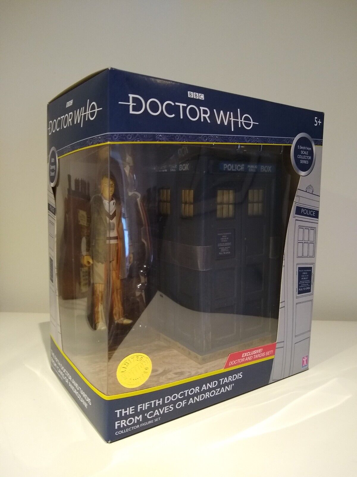 """5th Doctor Who TARDIS Caves of Androzani B&M 5.5"""" Classic Figure Fifth Dr Set"""