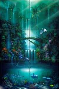 Ceramic-Tile-Mural-Backsplash-Miller-Tropical-Waterfall-Dolphin-Art-DMA2005