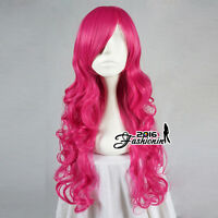 Magenta 27 Inches Long Curly Women Lady Style Anime Lolita Cosplay Hair Wig+Cap