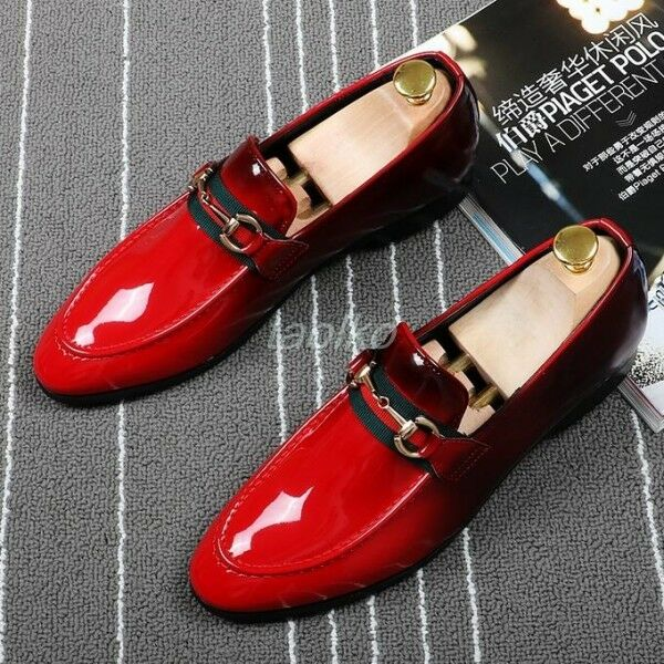 Uomo Slip On Loafer Patent Pelle Wedding Party Nightclub Dress Shoes Oxfords Sz