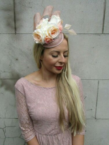 Nude Apricot Peach Rose Flower Feather Hat Fascinator Races Hair Floral 7314