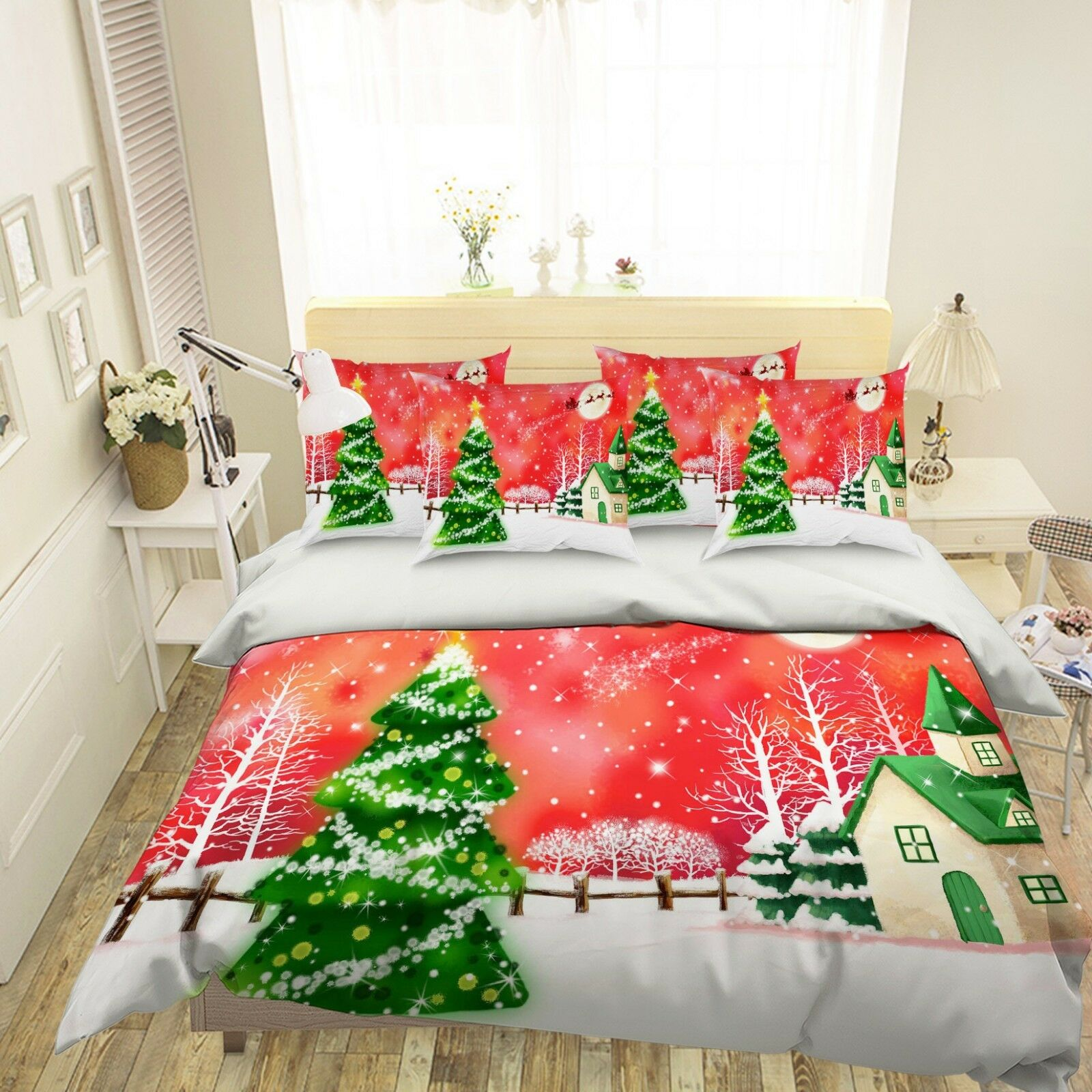 3D Snowing Pine House 26 Bed Pillowcases Quilt Duvet Single Queen King US Summer