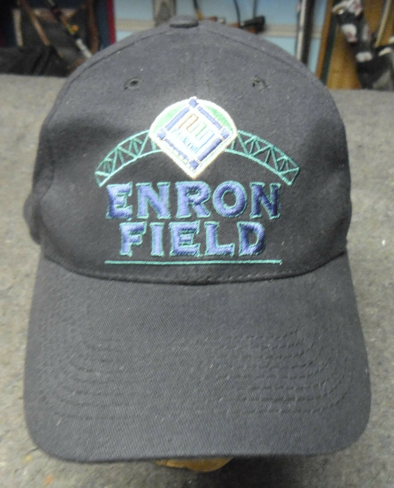 Enron Field Black Inaugural Game 2000 N.Y. Yankees Houston Astros Black Field Cap Snap back 9f13ae