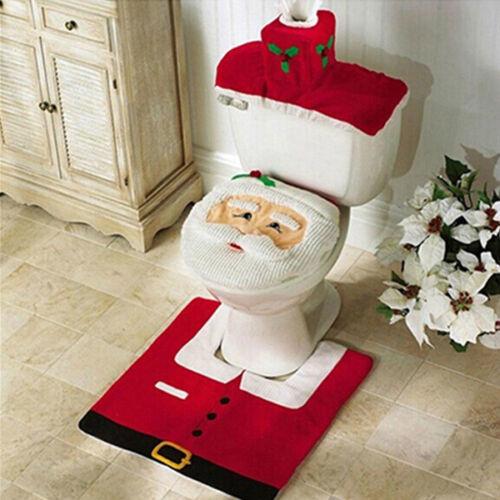 3 PCS Set Christmas Xmas Decoration Santa Toilet Seat /& Cover /& Rug Bathroom Mat