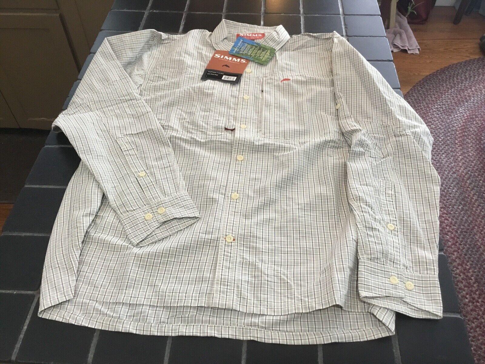 NWT Simms Fishing bugsstopper camisa de manga larga, Código L, camisa antiinsectos de pizarra oscura