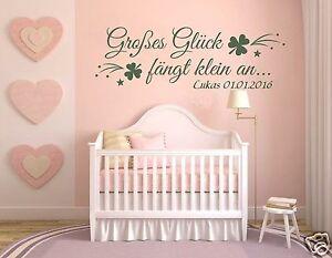 Details zu Wandtattoo Name Kinderzimmer, Mädchen, Baby Sticker Großes Glück  Wunschname pkm3