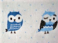 MINKY FABRIC BLUE WISE OWLS BIRDS WOODS DOT CUDDLE CHENILLE KNIT SEW CRAFT 30x36
