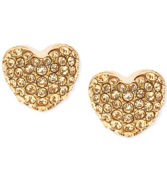 Michael Kors Pavé Heart Stud Earrings Gold Tone Nwt