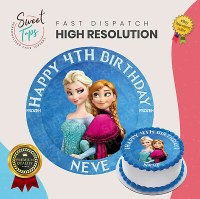 Frozen Anna And Elsa Round Edible Birthday Cake Topper Decoration Personalised Ebay