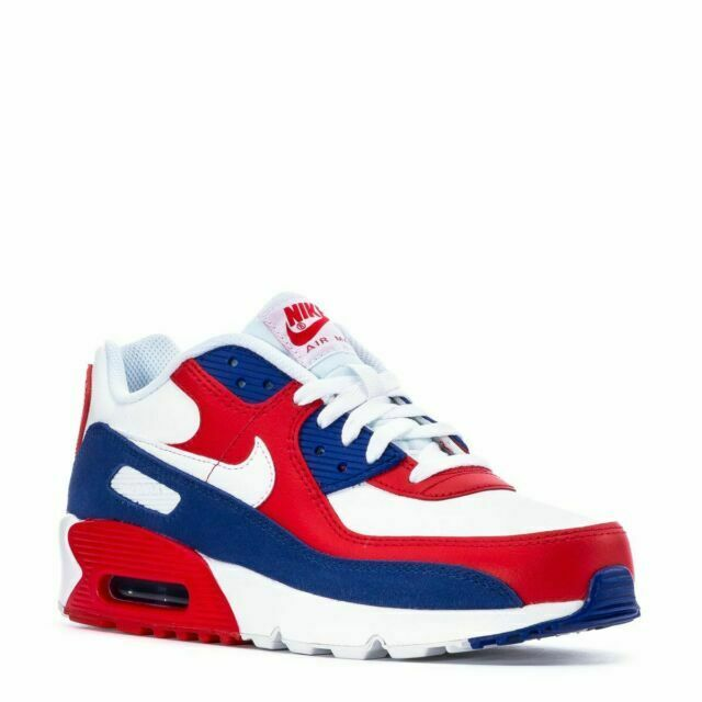 Nike Air Max 90 USA Leather Red White Blue Size 6 6y Da9022-100 ...