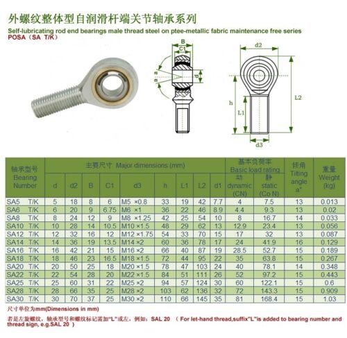 4pcs Sa12 t//k POSA12 Rechte Hand Innengewinde metrisch-Stab-Ende Gelenk