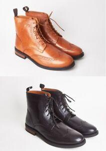 Hombre-Nuevo-Real-Cuero-Chelsea-Brogue-Botas-suela-de-goma-zapatos-talla-7-8-9-10-11