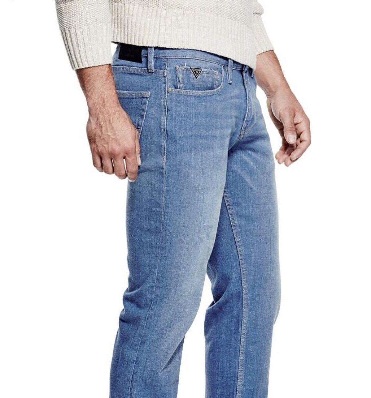 Guess Men's Slim Straight Jeans Max Stretch Super Comfort Denim In bluee 29