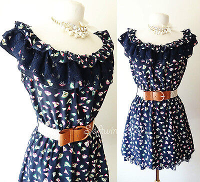 NEW Navy Blue Multi-Color Abstract Floral BOHO Lace Ruffle CUTE Dress +FREE Belt