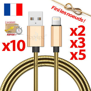 CABLE-POUR-IPHONE-7-6-5-8-PLUS-IPAD-IPOD-CHARGEUR-USB-OR-METAL-RENFORCE-GOLD-1M