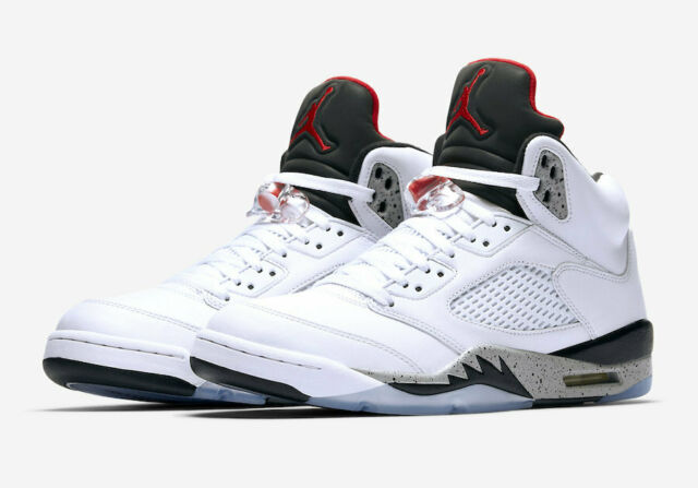 size 40 30e89 da438 Nike Air Jordan 5 Retro White Cement Size 8-18 University Red Black  136027-104