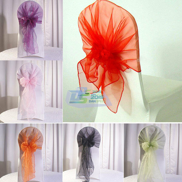 New Organza Chair Cover Sash Bow Wedding Party Reception Banquet Decoration 65cm