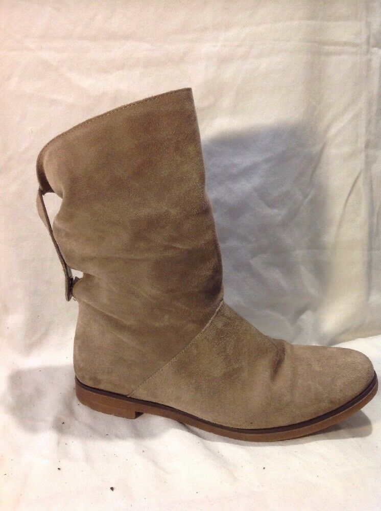 Ladies Brown Mid Calf Suede Boots Size 38