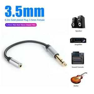 0-2m-Gold-plated-Plug-3-5mm-Female-to-6-35mm-Male-Short-Stereo-Adapter-Wire-CA