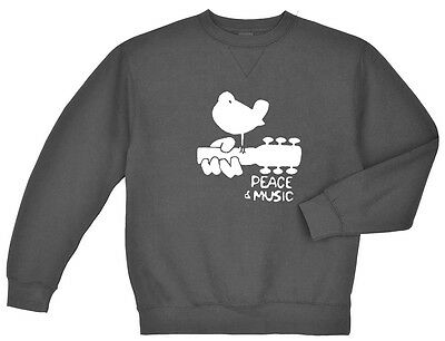 Woodstock sweatshirt Men/'s dark gray peace and music guitar woodstock
