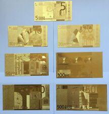 Gold Banknoten Euro Set 7 Stück Goldbarren Goldschein Geschenk Souvenir Neu