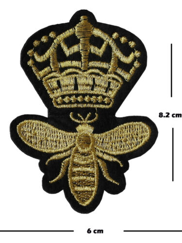 Sew On Patches insect motif Embroidery royal crown applique Queen Bee Iron On