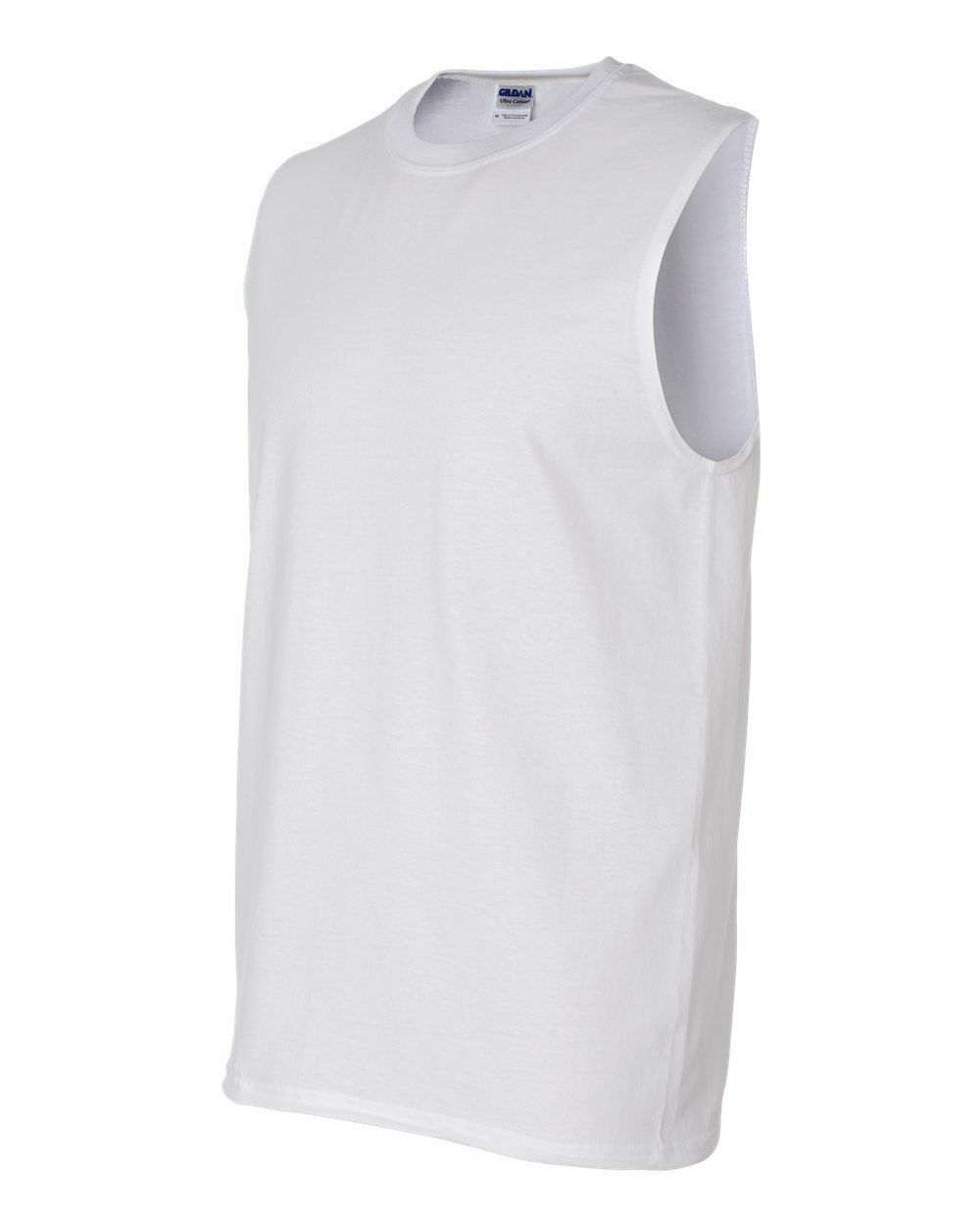 15 Blank Gildan Ultra Cotton Sleeveless Weiß T-Shirt Bulk Lot ok to mix S-XL