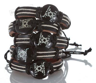 1 Star of David Israel Jewish Men Brown Leather Bracelet Wrist Luck Success punk