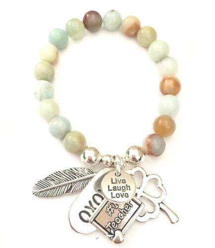 #1 regalos de profesor pulsera con dijes Trébol Live Laugh Love Xoxo encantos de plumas de ángel