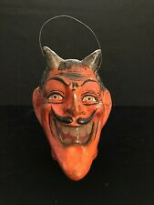 EARLY VINTAGE GERMAN COMPOSITION DEVIL HALLOWEEN JACK O' LANTERN RARE