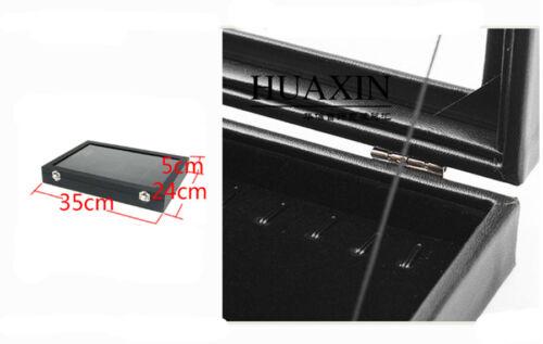 20 Hooks Glass Lid Faux Leather Pendant Necklace Display Storage Box Showcase