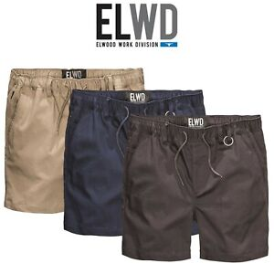 Mens-Elwood-Work-Elastic-Basic-Shorts-Twill-Pocket-Tradie-Tough-Activemax-EWD204