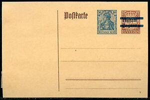 BAVARIA-15-pfg-MINT-POSTCARD-SOLID-BAR-RE-IMPRINTED-GERMANY-GERMANIA-30-pfg