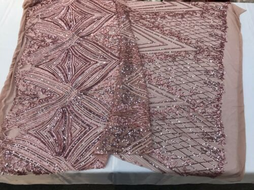 DUSTY ROSE SEQUIN DIAMOND DESIGN EMBROIDERY ON A 4 WAY STRETCH MESH-SOLD BY YARD