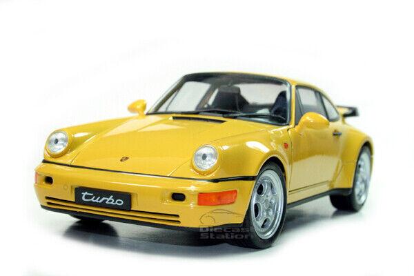 PORSCHE 964 TURBO DIE CAST Modelll 1 18 Gelb BY WELLY 18026 NEW
