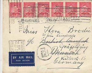 Stamp Kangaroo 2/- maroon uprated 2d KGV1 cover airmail Germany, Greek currency