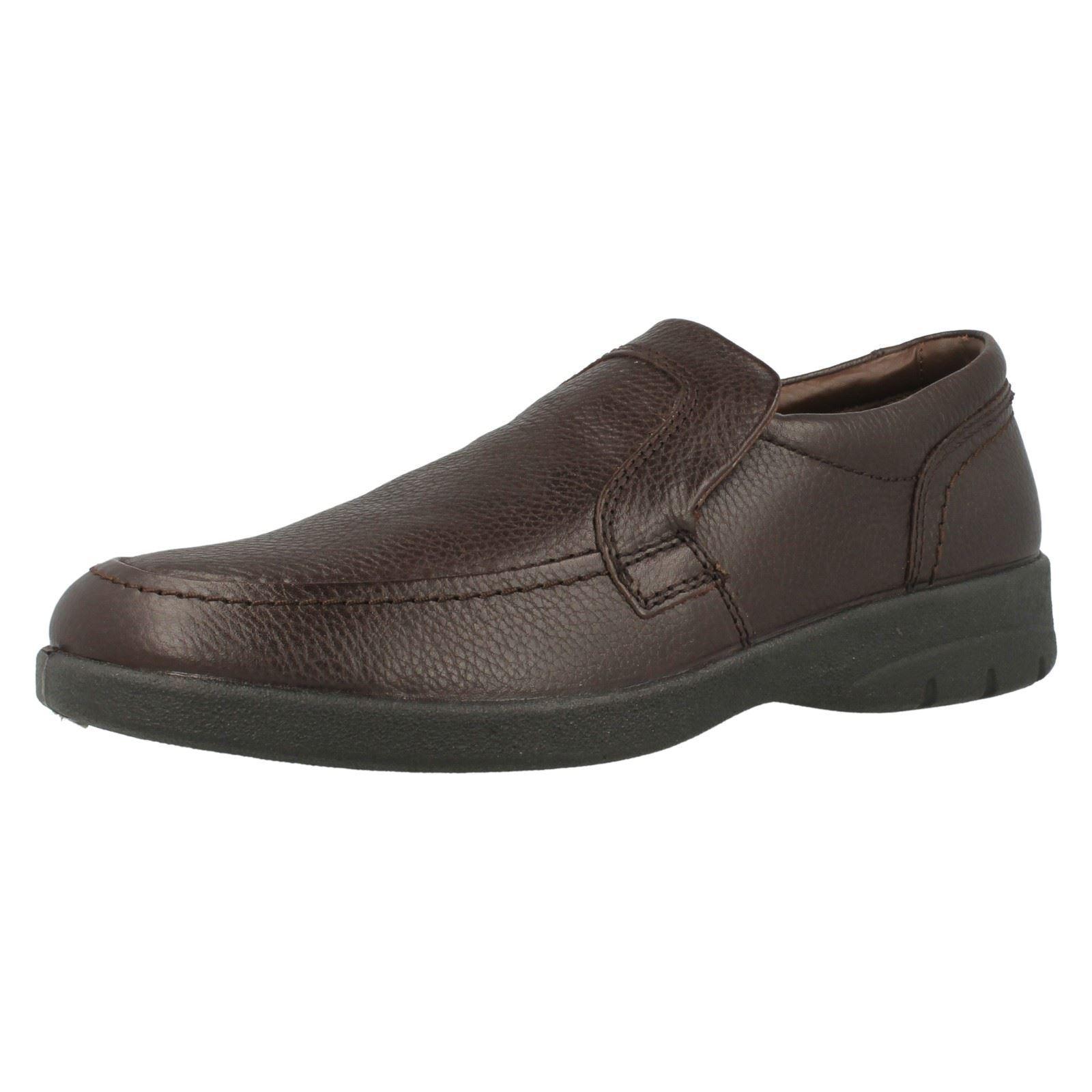 Uomo Braun Slip On Leder Padders Formal Feel Good Feet Dual Fit Schuhes Leo