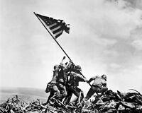8x10 World War Ii Photo: Raising The U.s. Flag On Mount Suribachi, Iwo Jima