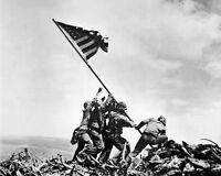 8x10 World War Ii Photo: Raising The U.s. Flag On Mount Suribachi, Iwo Jima