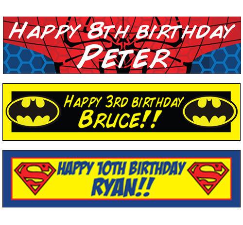2 Personalised Spiderman Superman Batman Banners Birthday Christening Party