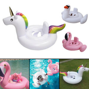 Kids-Baby-Inflatable-Flamingo-Unicorn-Swim-Ring-Float-Raft-Seat-Swimming-Pool-UK