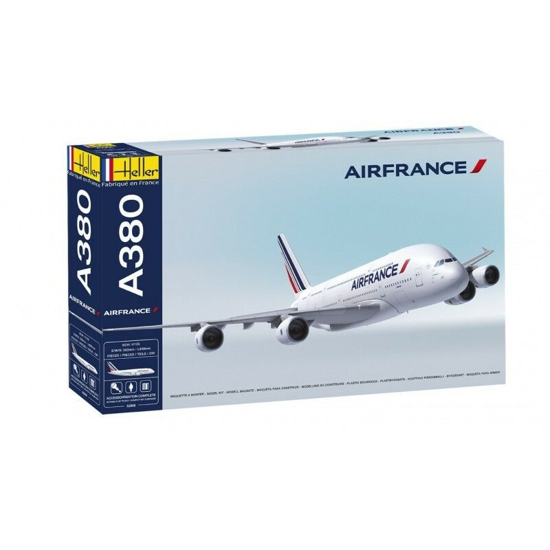Heller 52908G 1 125th scale Airbus A380 Air France Gift set Paints glue brush
