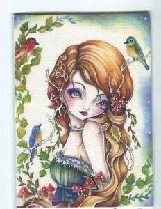 ACEO S/N L/E GORGEOUS GIRL DOE DEER ANTLERS WOODLAND FAIRY FAE SPRITE RARE PRINT