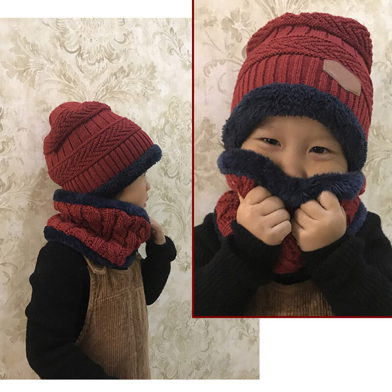Boys Girls Kids Winter Hat Scarf Set Warm Knit Fleeced Beanie Cap Circle Scarf 3