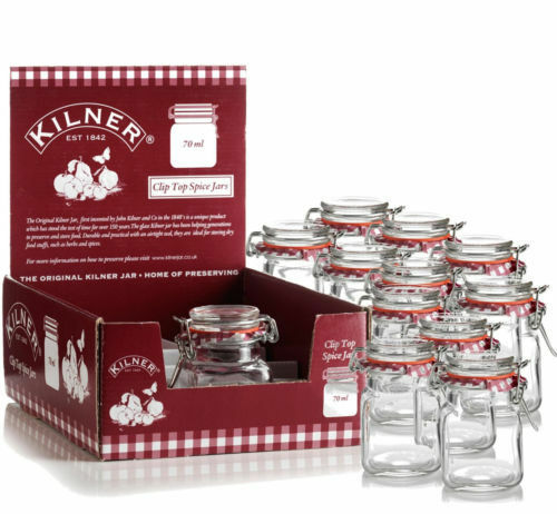 12 Kilner Square Glass Cliptop Airtight Spice Herb Storage Jam 70ml Jars