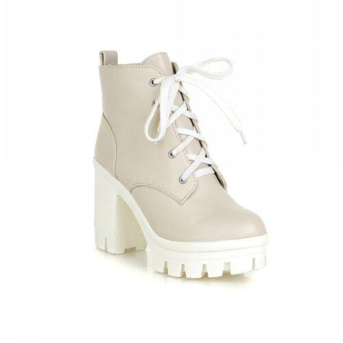 Womens Ladies British Block Heel Round Toe Lace Up Platform Crepper Ankle Boots