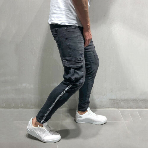 Men/'s Skinny Jean Denim Destroyed Frayed Pants Stretchy Ripped Slim Fit Trousers