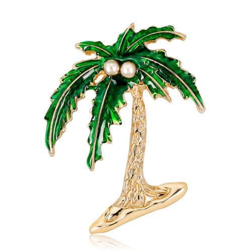 Vert émail de noix de coco Arbre Broche Epingle Shirt Col PIN Lady Bijoux Mariage gifs!