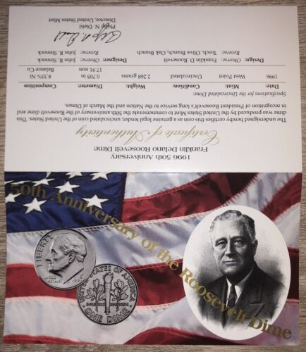 1996 W Roosevelt Dime 10c West Point RARE in Mint Cello with Certificate