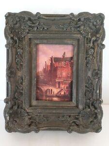 "Vtg Gray Gilt Ornate Picture Frame For 5""x7"" Chalkware? Baroque Rococo Gondola"
